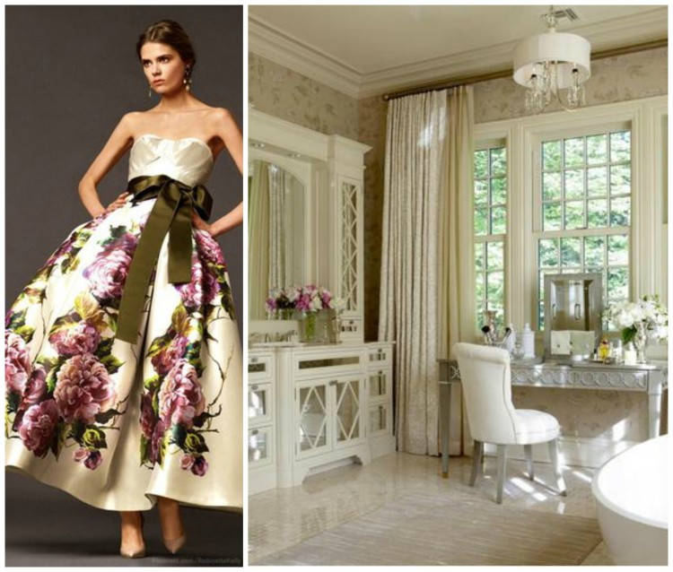 ELEGANT FASHION AND BATH DESIGN PAIRING collage for Hadley Court Blog - by Lynda Quintero-Davids
