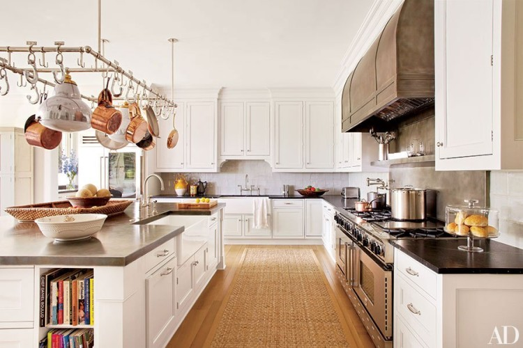 bespoke Ann-Morris pot-rack light fixture - Hamptons home designed by Carrier and Co. - KITCHEN feature AD