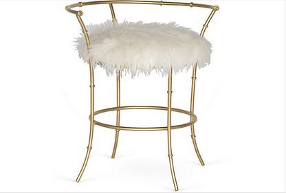 70's style brass vanity stool