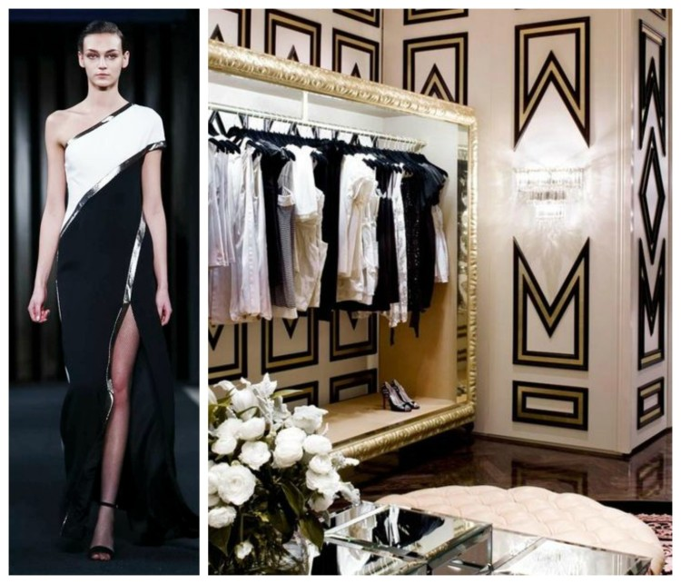 Black and White luxury closet and gown design