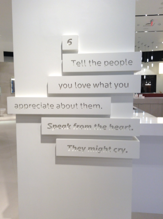 Brand promises on wall - tell the people you love what you appreciate about them. Speak from the heart. They might cry.