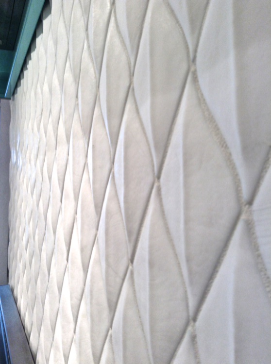 White quilted tile kitchen photo