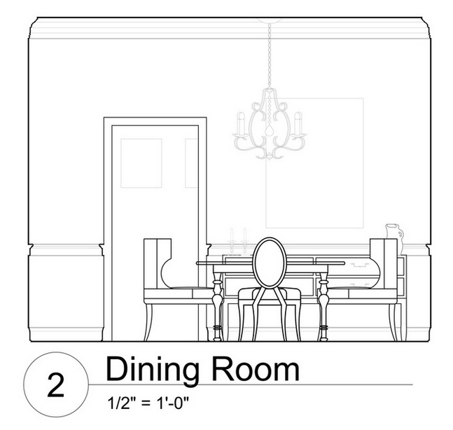 scale dining room chandelier blueprint