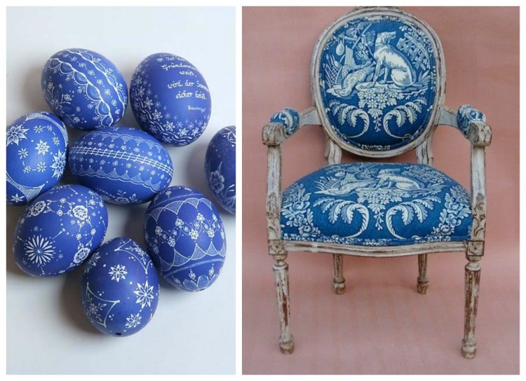 Beautiful white and blue easter eggs and chair
