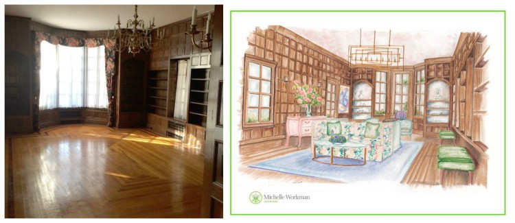 Before & Rendering - Library by Michelle Workman - Michelle Workman Interiors - jlhpshowhouse
