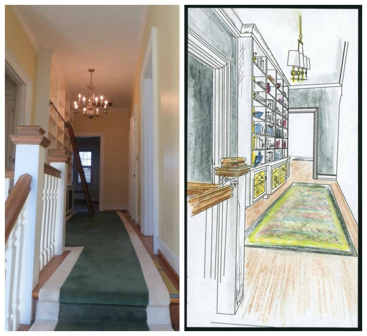 Before & Rendering - Upper Hallway by Jennifer Hutton & Mickey Sharpe Jennifer Hutton for the Home & Mickey Sharpe Design