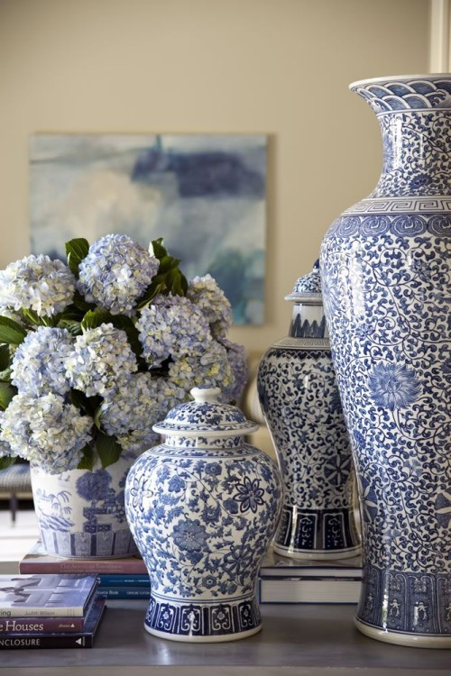 Blue and white flowers and vases