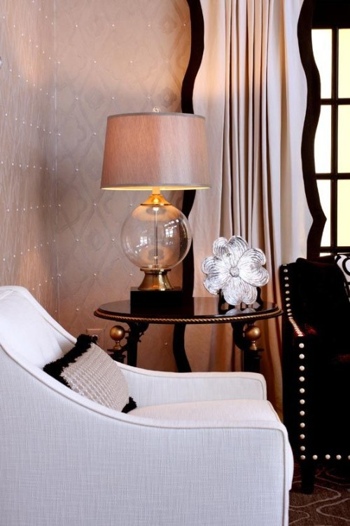 Interior Design by Sharon McCormick - Love the black scalloped drapery banding - blush