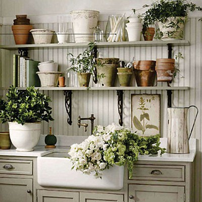 Antique white gardening bench photograph