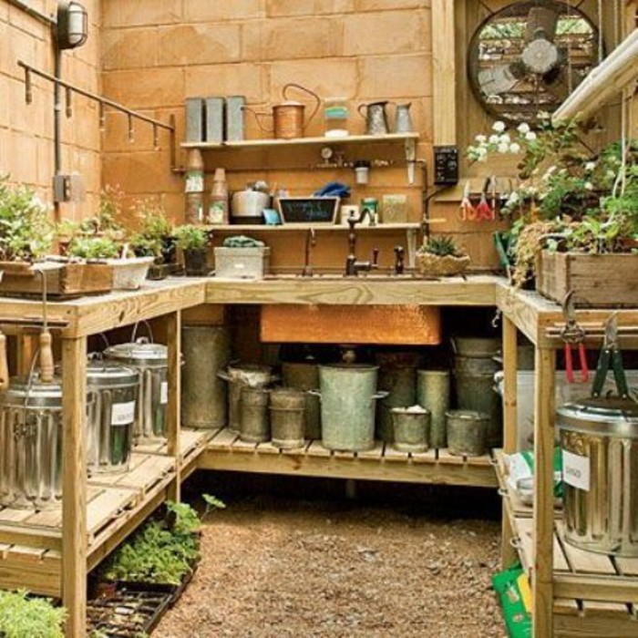 organizing your garden shed with a wrap around gardening bench