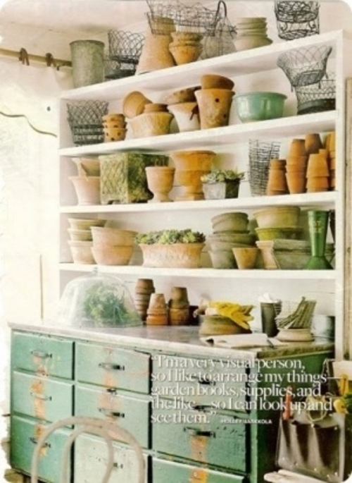 Repurposed dresser for pottery organization for your garden