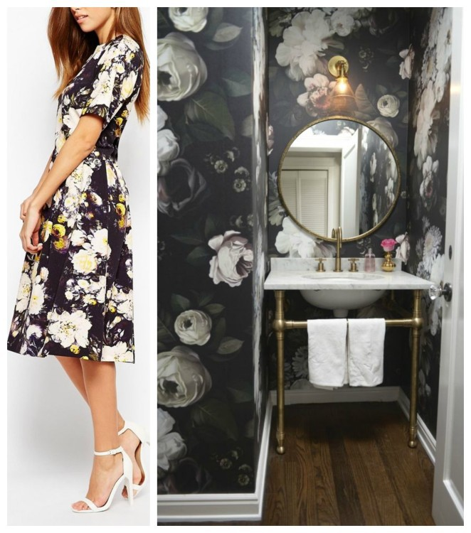 Cabbage Roses on a dress and wall