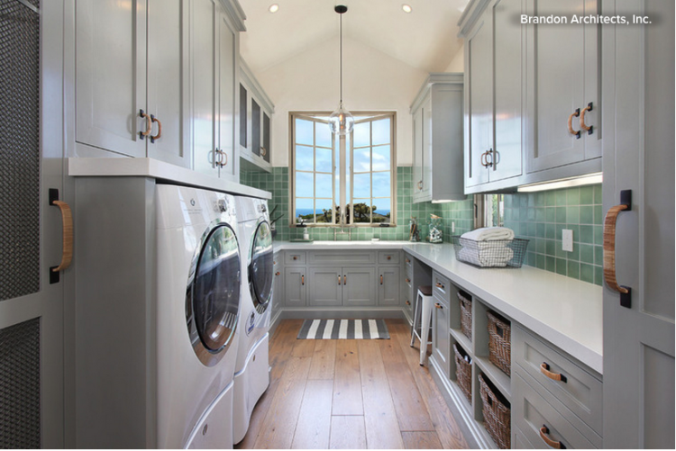 Large grey or silver luxury laundry room renovations photo