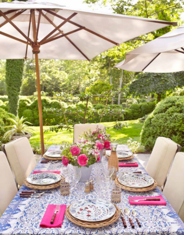 Outdoor dinner party settings