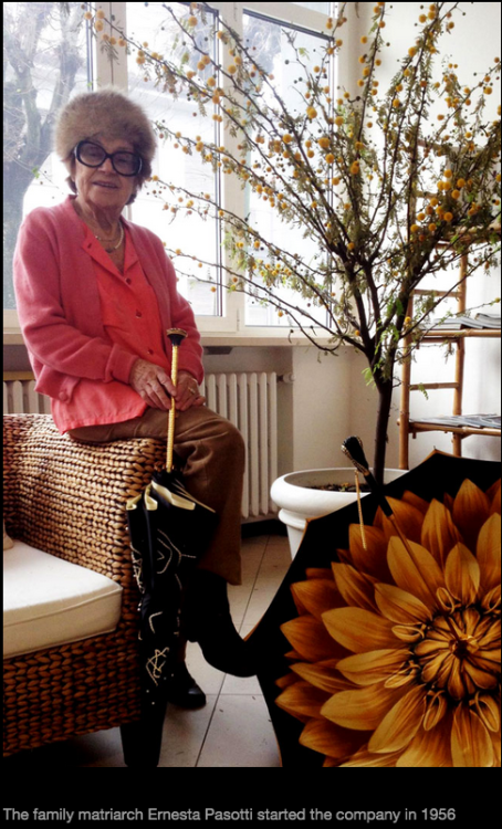 Ernesta Pasotti, the founder of Pasotti Umbrellas since 1956.