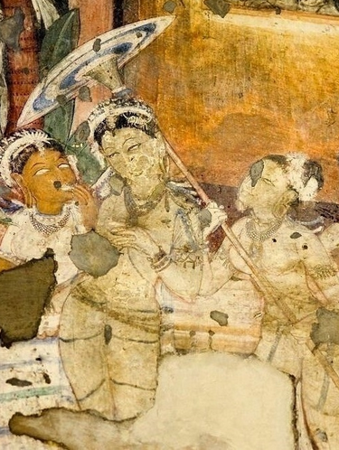 early parasol from India's Ajanta Caves frescoe paintings