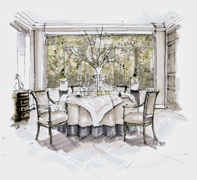 Hand rendering by Michelle Morelan, interior design by John Saladino, from a post on http://hadleycourt.com