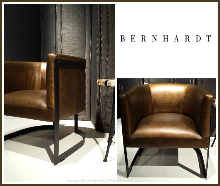 BERNHARDT - METALLIC LEATHER BARREL CHAIR Collage - Lynda Quintero-Davids