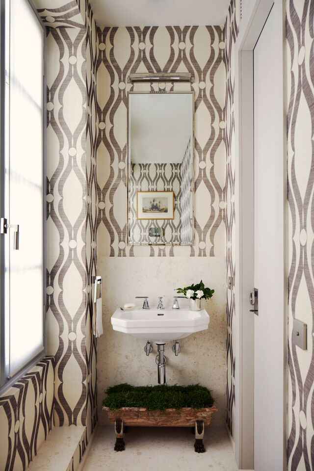 A vignette of a small bathroom designed by Timothy Whealon