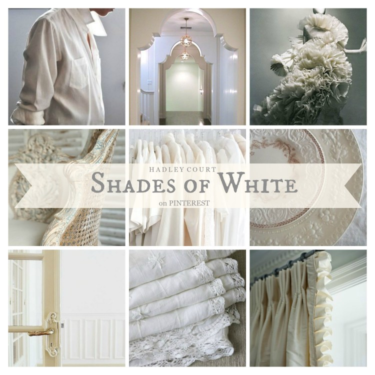 SHADES OF WHITE - Pinterest board collage for Hadley Court by Lynda Quintero-Davids