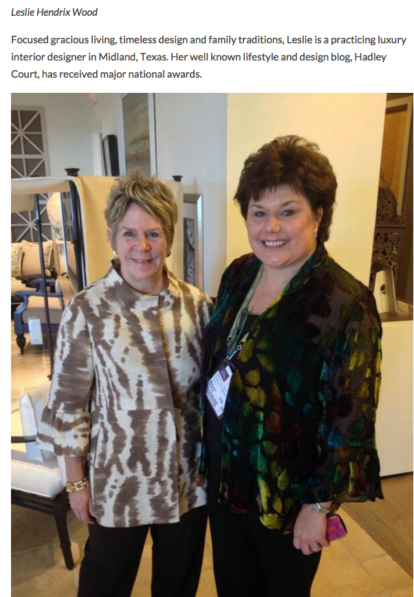 Midland, Texas interior designer Leslie Hendrix Wood with famed designer, Bunny Williams, in the Century Furniture Showroom