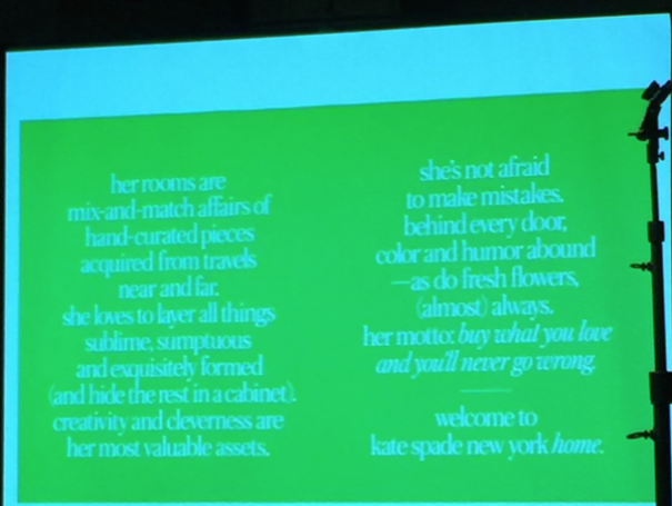 The definition, as shared at the http://withit.org breakfast, of the *Kate Spade New York Home* woman || Fall 2015 #HPMKT