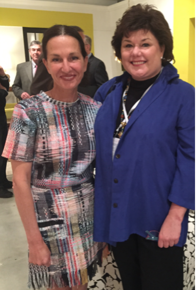 Fashion designer Cynthia Rowley with Midland, Texas interior designer, Leslie Hendrix Wood || Owner of the Hadley Court blog || Fall 2015 #HPMKT || Introduction of *Cynthia Rowley For Hooker Furniture* collection at #HPMKT