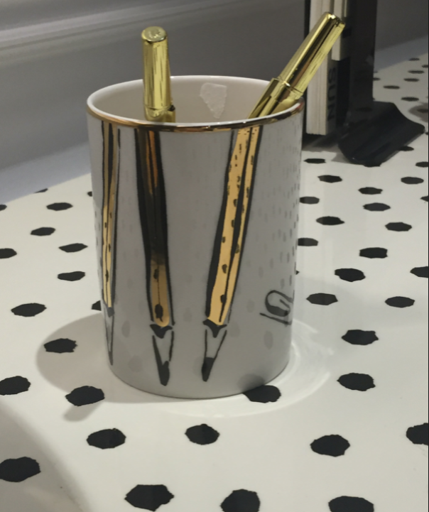 Pen Cup on Kate Spade for E.J.Victor's Downing Desk at Fall 2015 #HPMKT || hadleycourt.com || Desk StyleSpotted by Leslie Hendrix Wood || Image Credit: Leslie Carothers/@tkpleslie