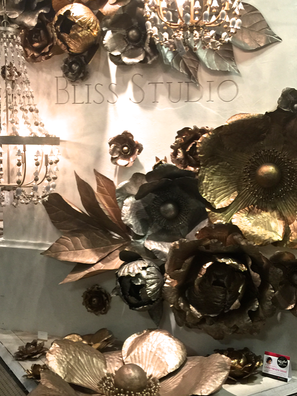 Metal flowers at Bliss Studio showroom, Fall 2015 #HPMKT, StyleSpotted by Leslie Hendrix Wood || Image Credit: Leslie Carothers for Hadley Court