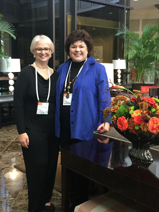Leslie Carothers/@tkpleslie on the left with 2015 #HPMKT StyleSpotter, Midland, TX based interior designer, Leslie Hendrix Wood, on the right