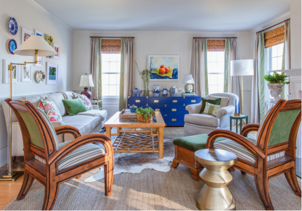 The *AFTER* of interior designer Linda Holt's family room for the Fall 2015 #OneRoomChallenge