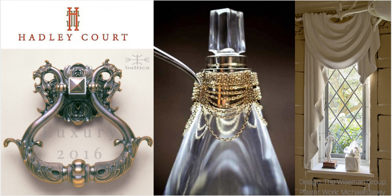 Collage Created by Leslie Carothers for hadleycourt.com || L to R: Baltica Hardware, Christian Dior, The Wiseman Group
