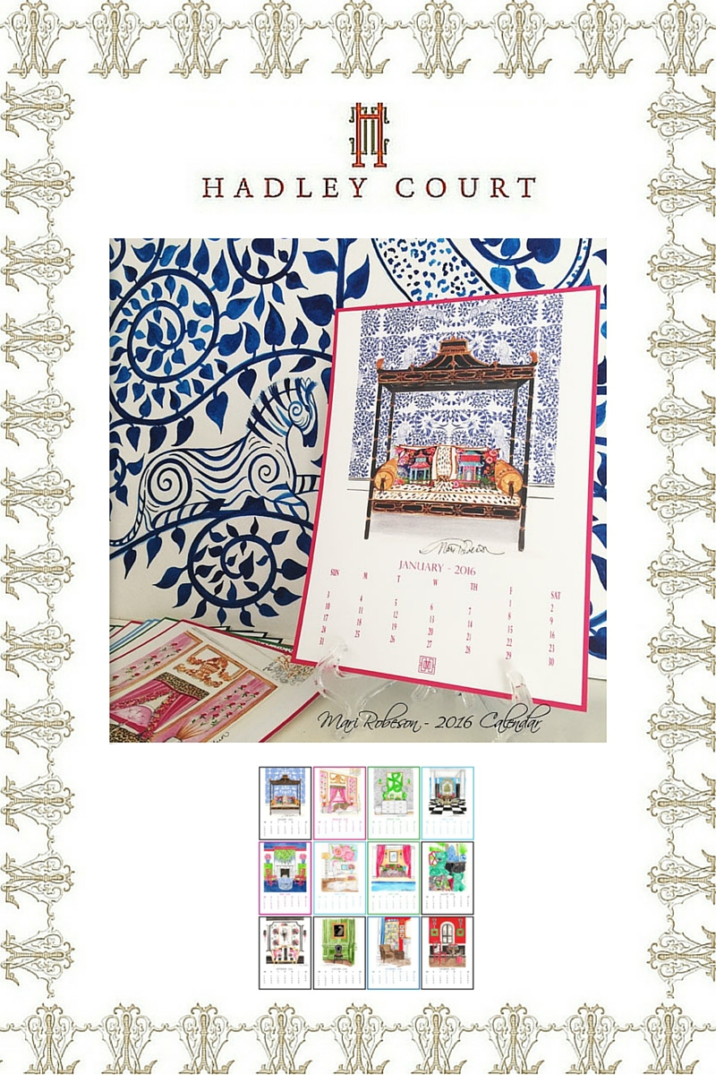 Mari Robeson Home's 2016 Hand Illustrated Calendar: A Hadley Court #Holiday2015 Gift Selection