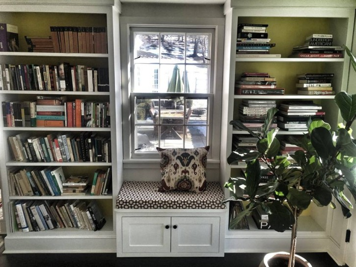 Susanna Salk bookshelves in her own home photo