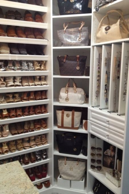 Shoe and purse organized closet