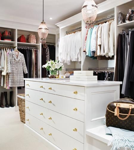 Closet island in an interior designed space