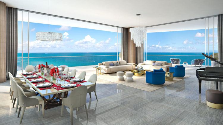 the living room at the Estates at Acqualina
