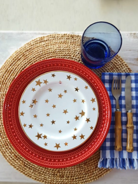 White plate with stars on Red plate with blue cup for 4th of July Decorations