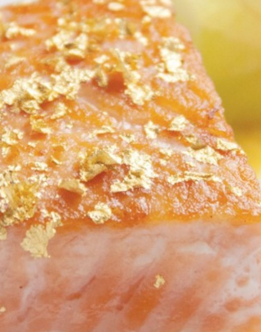 Photo of salmon with edible gold flakes