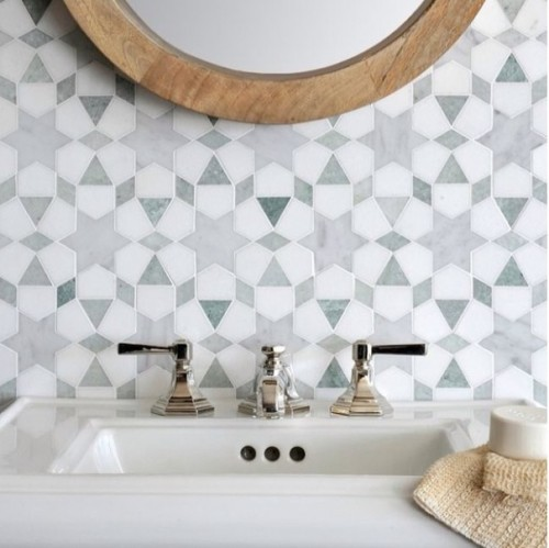 Carrara polished and Thassos honed marbles mosaic bathroom tile photo