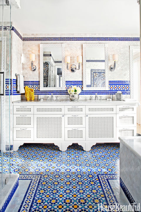 Photograph of bathroom tiles in a Moroccan pattern