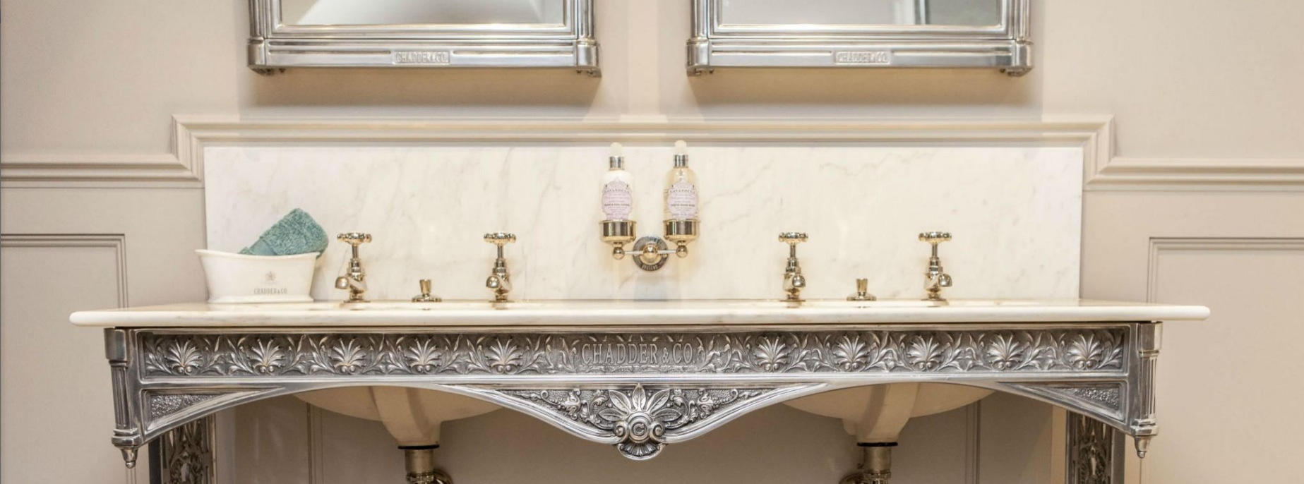 luxury bathroom fittings chadder & co double pedestal sink made in england