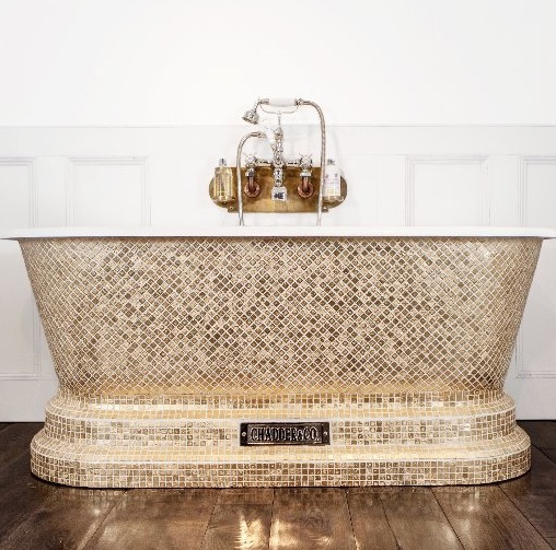 luxury bathrooms chadder and company windsor gold mosaic soaking tub