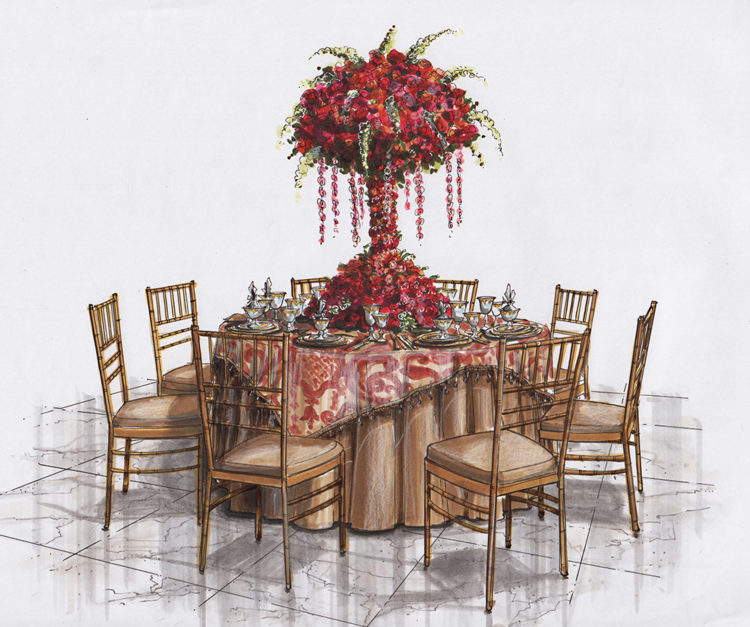 Leslie Wood Table Rendering photo