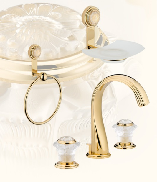 THG Paris Lalique crystal luxury bathroom taps and faucet