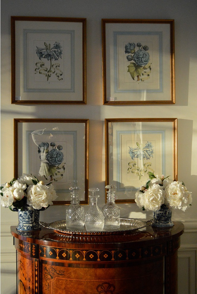 Photo of French matting on antique botanical prints found at the enchanted home shop