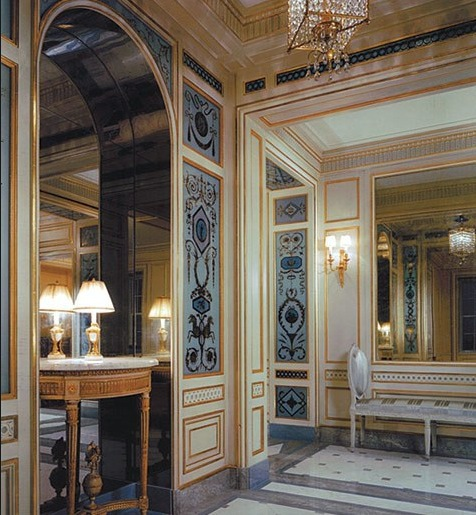 Photo of Entryway with Louis XVI style verre eglomise panels by Miriam Ellner, designed by interior designer Michael Simon