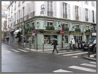 Laduree Rue Jacob, on the Left Bank corner of Rue Jacob and Rue Bonaparte, once home to Madeleine Castaing's shop and apartment