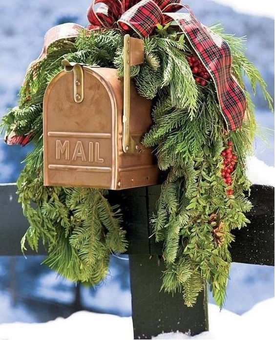 Pre-made Christmas holiday garland swag decor for your mailbox from Plow and Hearth