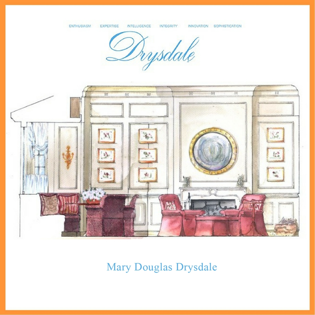 A gorgeous hand rendering, executed by the office of interior designer, Mary Douglas Drysdale.